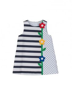 Polka-Dot & Stripe Pique Dress, Navy/White, Sizes by Florence Eiseman at Bergdorf Goodman.Keep your little cutie stylish without sacrificing comfort by adding Florence Eiseman clothing and dresses to his or her wardrobe.Girls' Designer Clothing at Ne Frocks For Girls, Kids Frocks, Little Dresses, Little Girl Dresses, Baby Dresses, Dress Girl, Girls Dresses, Sewing For Kids, Baby Sewing