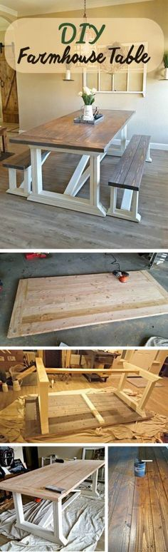 Learn to Launch your Carpentry Business - Barn Door Tabletop with Fresh White Base Learn to Launch your Carpentry Business - Discover How You Can Start A Woodworking Business From Home Easily in 7 Days With NO Capital Needed! Farmhouse Table Plans, Farmhouse Furniture, Farmhouse Decor, Farmhouse Ideas, Modern Farmhouse, Rustic Modern, Farmhouse Design, Chairs For Farmhouse Table, Rustic Furniture
