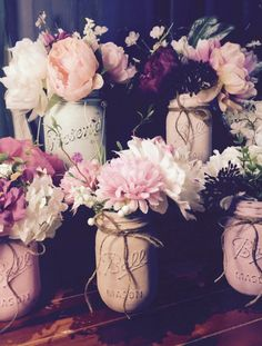 My diy painted mason jars.  Love love making these!