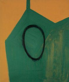 Untitled Head, Red on Green (1989) - Callum Innes