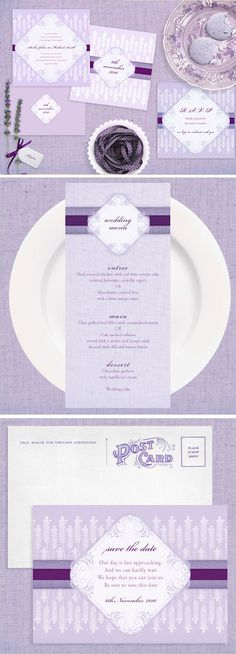 lavender wedding stationery... I love the colours!