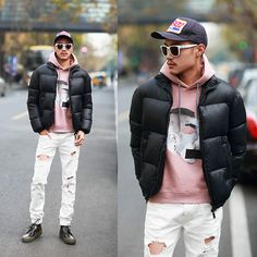 Get this look: http://lb.nu/look/8572819  More looks by Aron Lu.: http://lb.nu/aronlulu  Items in this look:  Dsquared2 Hat, Alexander Mcqueen Jumper, Dsquared2 Coat, Off White Pants, Alexander Mcqueen Shoes
