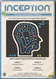 Jeux-vidéos Inception, Avatar, Cloverfield, Batman et Wall-E en mode Vintage Atari Video Games, Video Game Posters, Film Posters, Retro Videos, Retro Video Games, Wall E, Tokyo Drift, Retro Arcade Games, 8 Bits