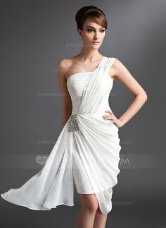 [US$ 114.49] Sheath/Column One-Shoulder Asymmetrical Chiffon Cocktail Dress With Ruffle Beading