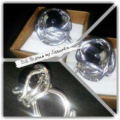 Anello in alluminio con agata sfaccettata