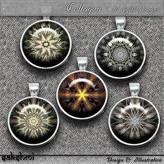 Mandalas – Digital Design - 20 Buttons zum Ausdrucken. 300 DPI