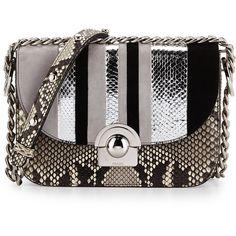 Prada Python/Suede Striped Shoulder Bag ($4,100) ❤ liked on Polyvore featuring bags, handbags, shoulder bags, prada purses, chain shoulder bag, python handbag, striped purse and shoulder handbags
