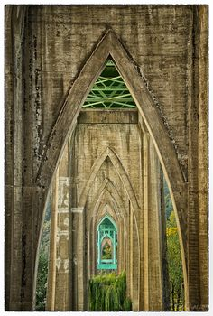 Under the cathedral-like arches of the St. John's Bridge, Portland, Oregon. Photo by Jack Larson.