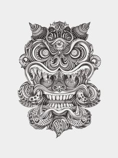 Great tatoo-like artwork Tattoo Sketches, Tattoo Drawings, Art Drawings, Tattoo Bein, Cat Tattoo, Hannya Maske Tattoo, Dibujos Tattoo, Fu Dog, Japanese Tattoo Designs