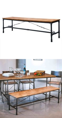 Chairs are so overrated. Add some industrial flair to your dining routine with this handsome Mission Dining Bench. Made with beautiful acacia wood and sleek metal pipe framing, this bench will make a p...  Find the Mission Dining Bench, as seen in the Benches Collection at http://dotandbo.com/category/furniture/benches-and-ottomans/benches?utm_source=pinterest&utm_medium=organic&db_sku=117061
