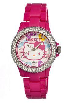HELLO KITTY--  Pink Crystal Bezel Bow Watch