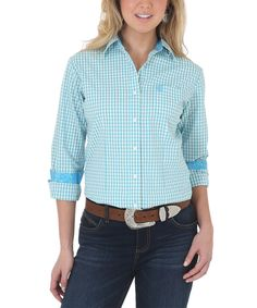 Blue Plaid Western Button-Up