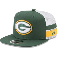 ab749502578 Men s Green Bay Packers New Era Green White Striped Side Lineup 9FIFTY  Adjustable Snapback Hat