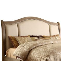 Wood Headboard With Linen Upholstery And Hand Hammered Nailhead Trim.  Product: Headboard Construction