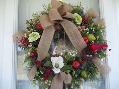 Redbird~Nest~Fruit~ Burlap Bow~ Door~Wall~ Wreath~Lights Up~~~
