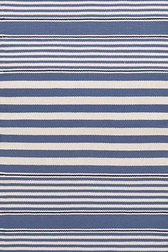 Rugby Stripe Denim / Ivory Indoor / Outdoor Rug