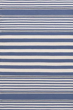 Rugby Stripe Denim / Ivory Indoor / Outdoor Rug
