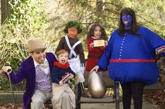 Our Wonka Family Halloween costume. Willy, Oompa Loompa, Veruca Salt, Violet Beuregarde and Charlie Buckett. Full story here Our Family Halloween costume, Toy Story. Full story here: http://miabellavida.blogspot.com/2012/11/a-wonka-halloween.html