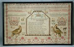 Silkwork Sampler by Anne Guest, 1821.