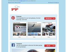 Gogo WiFi sent an email to users encouraging them to find travel tips and inspiration on their Pinterest boards.