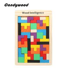 Bambini giocattoli di legno tangram p rompicapo puzzle tetris gioco educativo del bambino del bambino del giocattolo del capretto spedizione gratuita