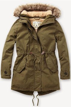Abercrombie & Fitch Sherpa Lined Twill Parka ($108) ❤ liked on ...