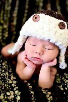 Newborn Baby Boy Photo Prop Aviator Hat.