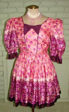 Vintage 80s Pink & Purple Silk Dolly Mini Dress S 35 Bust Lolita