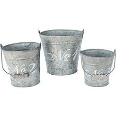 3 Piece French Script Pail Set