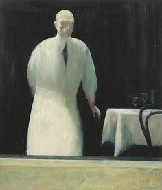 Rick Amor (Australian, b. 1948), The Waiter, 1995-2000. Oil on canvas, 107 x 91 cm.