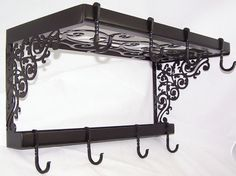 Victorian Iron Pot Pan Rack Spice Shelf Wall Mount Kitchen Storage Fancy Hooks via Etsy