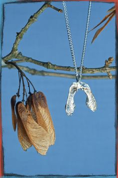 Maple seeds cast in Eco Act silver. This organic cast Wings pendant depicts travel and the ability to find your new home no matter where you end up going.