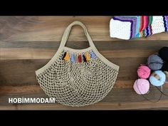 I used 200 g of rope. Very easy to make mesh bag. Beach bag or daily use. I used 200 g of rope. Very easy to make mesh bag. Beach bag or daily use. Free Crochet Bag, Crochet Market Bag, Crochet Purses, Crochet Bags, Knit Crochet, Crochet Videos, Knitted Bags, Bag Making, Crochet Projects