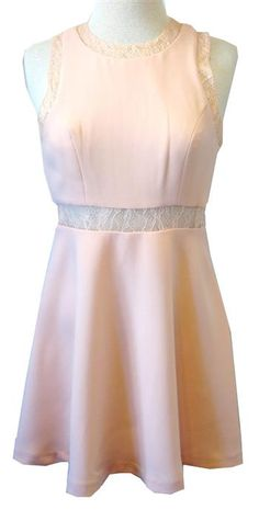 BCBGeneration Blush Fit & Flare Dress With Lace Accents from Stacey Rhodes Boutique.