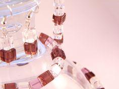 Handmade - Brown Cube Crystal Glass Jewelry Set (Necklace+Earrings+Bracelet) Glass Jewelry, Jewelry Sets, Femininity, Cube, Crystals, Brown, Bracelets, Earrings, Handmade