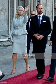 Crown Princess Mette-Marit and Crown Prince Haakon attend a service at Nidaros Cathedral on a visit to Trondheim, during the King and Queen of Norway's Silver Jubilee Tour, on June 23, 2016 in Trondheim, Norway.