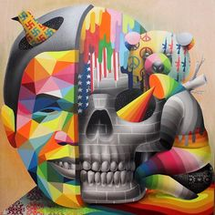 A new selection of the colorful street art creations of the Spanish artist Okuda, who we already talked about in 2013 with The street art by Okuda. From Ind Graffiti Art, Murals Street Art, Land Art, Okuda, Street Art Photography, Amazing Street Art, Funky Art, True Art, Outdoor Art