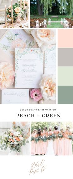 peach and green wedding inspiration by blush paper co.