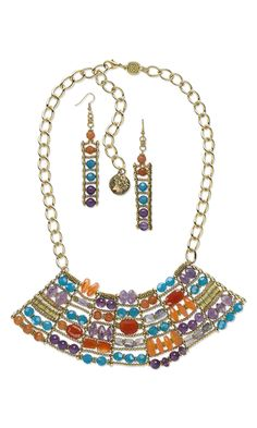 Bib-Style Necklace and Earring Set with Gemstone Beads and Gold-Plated Brass Beads and Chain