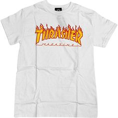 Thrasher Flame Logo TShirt Large White *** Be sure to check out this awesome product.(This is an Amazon affiliate link and I receive a commission for the sales)