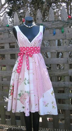 plus size Tea dress vintage fabric can be worn 3 by tatters1