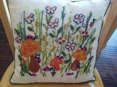 vintage 1970s 1960s throw pillow decorative hippie shabby chic flowers ladybugs retro  . $15.00, via Etsy.