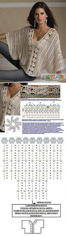 Известная модель блузы-кимоно крючком с пояснениями.