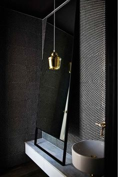 Black and gold amazing powder room - Simplicity at its best