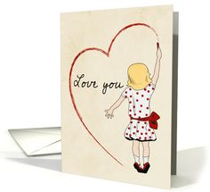 Girl Drawing a Heart with Love You for Valentine's Day card  greetingcarduniverse.com/jjbdesigns