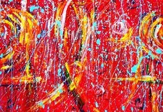Abstract Painting created on art paper with watercolor, acrylic and tempera