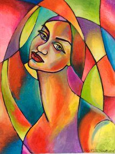 """Gislane""   24"" x 36"" Acrylic by Beth K. Ritter-Perry www.caprichostudio1.com"