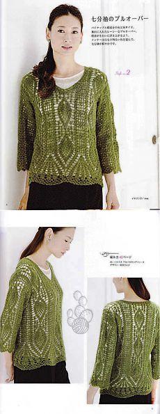 Зеленый пуловер с ананасами.