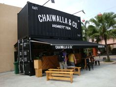 Chaiwalla Co Container Cafe, Malaysia. Shipping Container Cafe, Shipping Container Conversions, Shipping Containers, Container Coffee Shop, Container Office, Container Home Designs, Container Buildings, Container Architecture, Coffee Shop Design