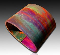 Nebula polymer clay cuff. Love the blending of the colors.